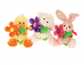 Spring Animals w/ Flowers (3 Asst)