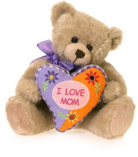 I Love Mom Patchwork Pillow Bear