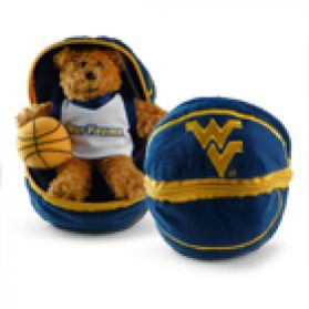 West Virginia Zipper Basketball 8in
