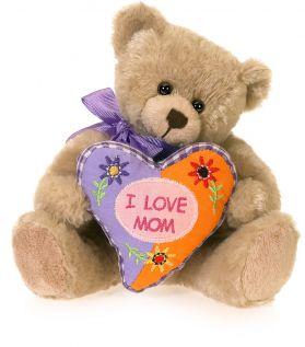 I Love Mom Patchwork Pillow Bear