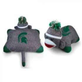 Michigan State Sock Monkey Pillow 24in