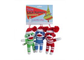 Sock Monkey Ornaments (3 Pack)
