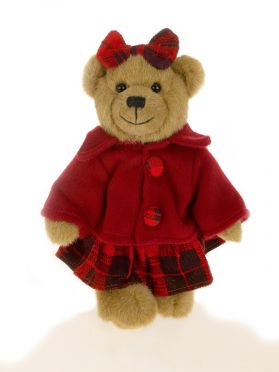 Jointed Dressed Bear with Bow 9in